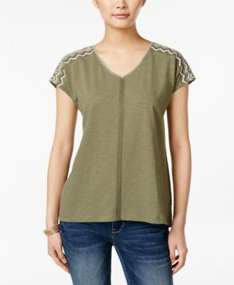 Style & Co. Petite Embroidered V-Neck Top, Only at Vogily