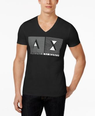 Armani Exchange Men's Inside Out Box Graphic-Print Logo V-Neck T-Shirt