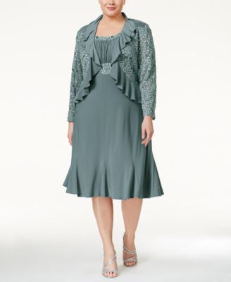 R & M Richards Plus Size Sheath Dress and Ruffled Jacket