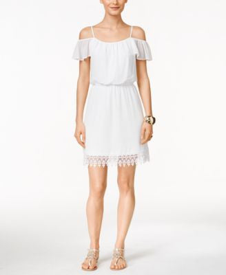 Thalia Sodi Lace Off-The-Shoulder Blouson Dress, Only at Vogily