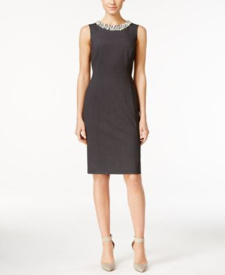 Calvin Klein Sleeveless Beaded Sheath Dress