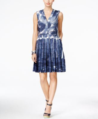 Tommy Hilfiger Printed Chambray A-Line Dress