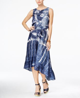 Tommy Hilfiger Printed Chambray High-Low Dress