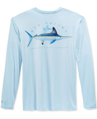 Guy Harvey Men's Graphic-Print Long-Sleeve Performance UV Protection T-Shirt