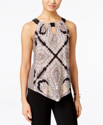 INC International Concepts Petite Handkerchief-Hem Halter Top, Only at Vogily