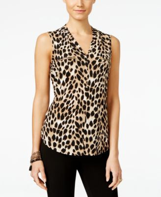 INC International Concepts Petite Printed Zip-Pocket Top, Only at Vogily