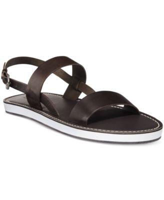 Armani Jeans Men's Double Strap Leather Sandals