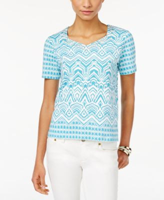 Alfred Dunner Petite Printed Embellished Top