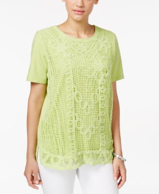 Alfred Dunner Petite Lace-Front Blouse