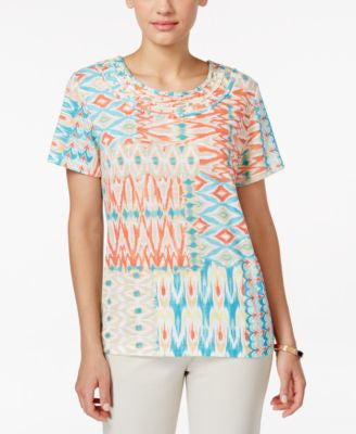 Alfred Dunner Petite Embellished Patchwork Printed Top
