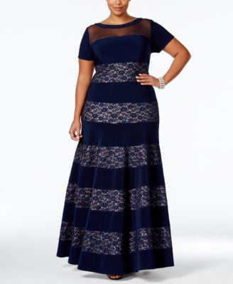 R & M Richards Plus Size Sequined Lace Striped Gown