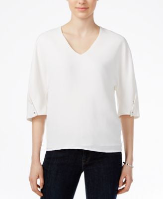Armani Exchange V-Neck Button-Detail Top