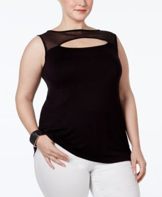 INC International Concepts Plus Size Illusion Cutout Top, Only at Vogily