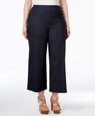 INC International Concepts Plus Size Cropped Sailor Pants, Only at Vogily