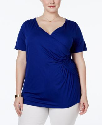 INC International Concepts Plus Size Faux-Wrap Top, Only at Vogily