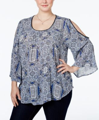 INC International Concepts Plus Size Cold-Shoulder Blouse, Only at Vogily
