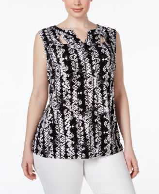 INC International Concepts Plus Size Snakeskin-Print Cutout Top, Only at Vogily