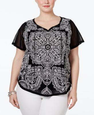 INC International Concepts Plus Size Embroidered Peasant Top, Only at Vogily