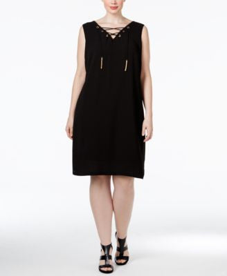 INC International Concepts Plus Size Lace-Up Shift Dress, Only at Vogily