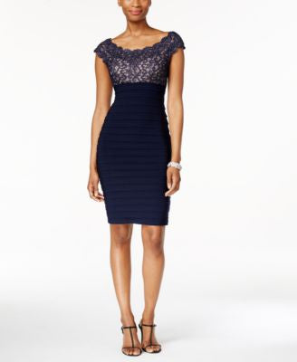 Xscape Lace Pleated Bodycon Dress