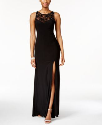 X by Xscape Rhinestone Illusion Lace Gown
