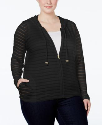 INC International Concepts Plus Size Illusion-Striped Hoodie, Only at Vogily