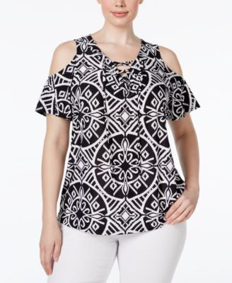 INC International Concepts Plus Size Lace-Up Cold-Shoulder Top, Only at Vogily