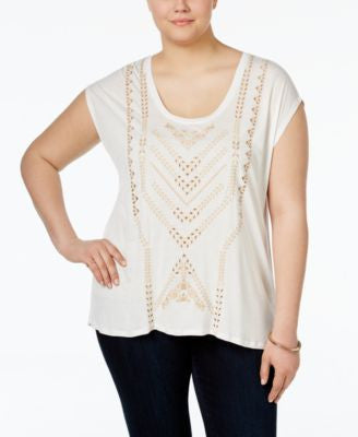 Jessica Simpson Trendy Plus Size Flyaway-Back Top