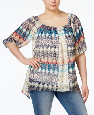 NY Collection Plus Size Smocked Off-The-Shoulder Top