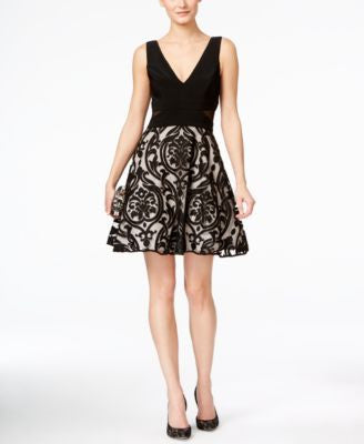 Xscape Illusion Damask V-Neck Dress