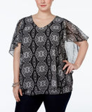 NY Collection Plus Size Cape-Sleeve Mesh Top