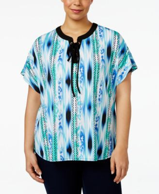 NY Collection Plus Size Printed Lace-Up Top