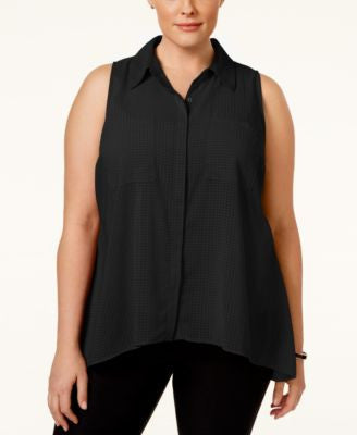 NY Collection Plus Size Sleeveless Printed Shirt