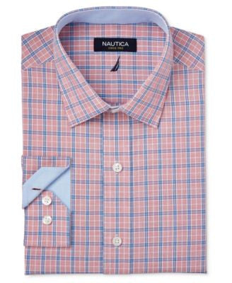 Nautica Men's Classic-Fit Red and Blue Tattersall Dress Shirt