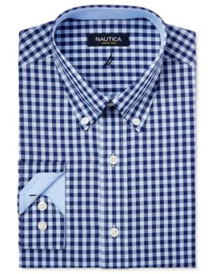 Nautica Men's Classic-Fit Navy and Light Blue Gingham Dress Shirt