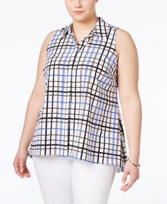 NY Collection Plus Size Windowpane-Check Utility Shirt