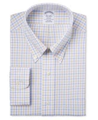 Brooks Brothers Regent Men's Classic-Fit Non-Iron Yellow Tattersall Dress Shirt