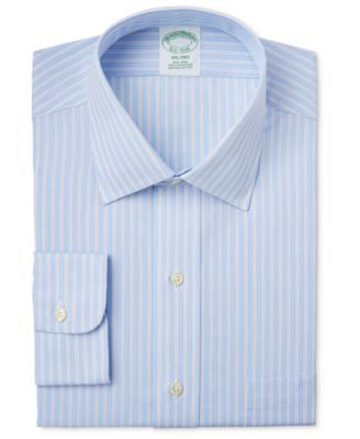 Brooks Brothers Men's Milano Extra Slim-Fit Light Blue Striped Dress Shirt
