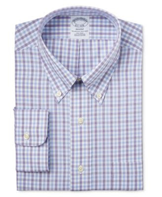 Brooks Brothers Regent Men's Classic-Fit Non-Iron Purple Tattersall Dress Shirt