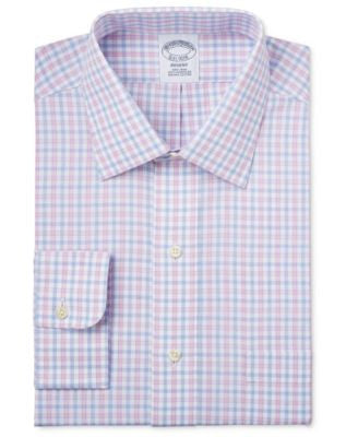 Brooks Brothers Regent Men's Classic-Fit Non-Iron Pink Plaid Dress Shirt