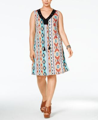 NY Collection Plus Size Laced-Up Shift Dress