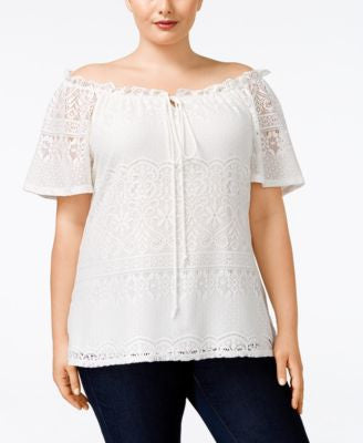 NY Collection Plus Size Off-The-Shoulder Lace Peasant Blouse