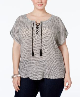 NY Collection Plus Size Laced-Front Geo-Print Blouse
