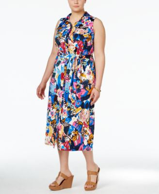 NY Collection Plus Size Floral-Print Shirtdress