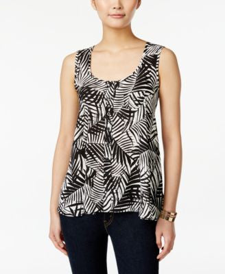 Style & Co. Leaf-Print Sleeveless Top, Only at Vogily