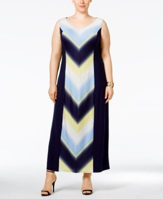 NY Collection Plus Size Chevron-Print Maxi Dress