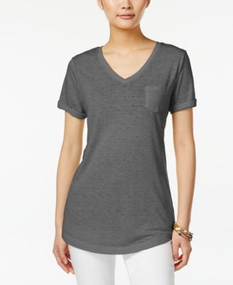 Style & Co. V-Neck Burnout Pocket Tee, Only at Vogily