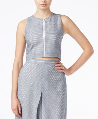 RACHEL Rachel Roy Sleeveless Zip-Front Crop Top
