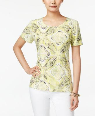 JM Collection Mosaic-Print Short-Sleeve Top, Only at Vogily