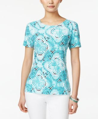 JM Collection Petite Printed Short-Sleeve Top, Only at Vogily